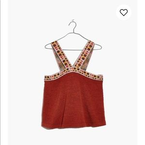 madewell embroidered swing sweater tank BNWT XS